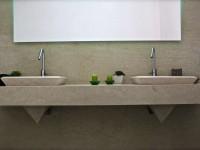 double vasques pyramide en marbre boticinno adouci , salle de bain .marbrerie bonaldi