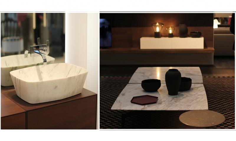 plan vasque et table basse en marbre blanc carrare marbrerie var le muy bonaldi