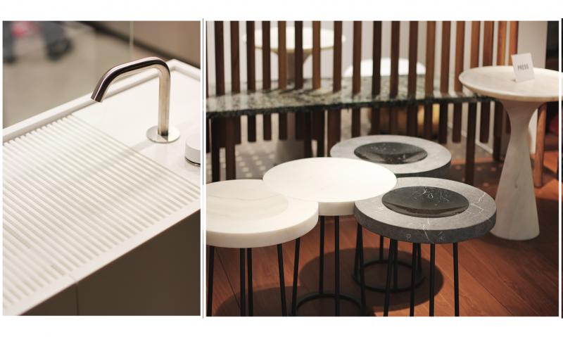 table d'appoint en marbre et plan de vasque salle de bain en quartz marbrerie var bonaldi